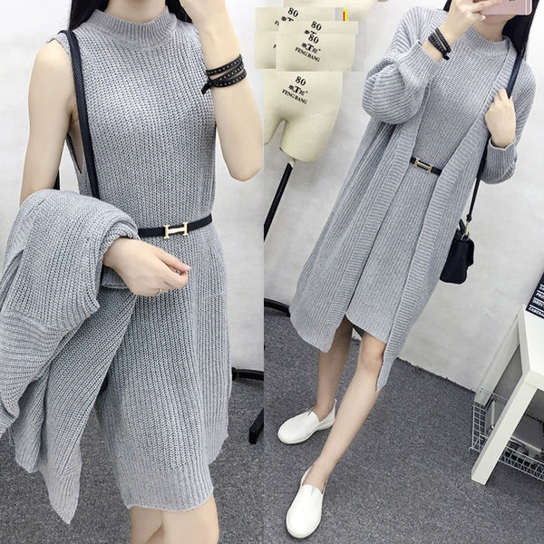 two-piece cardigan long paragraph crew neck sweater Dress CODE: mon757