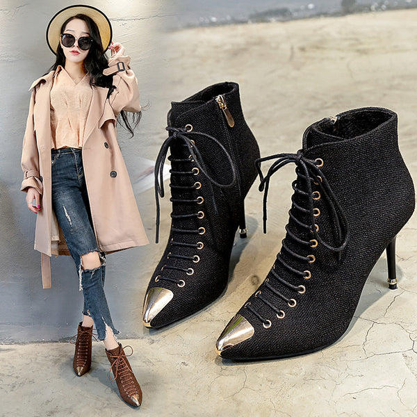 stylish metal tip sexy high heel thin lace boots CODE: mon761