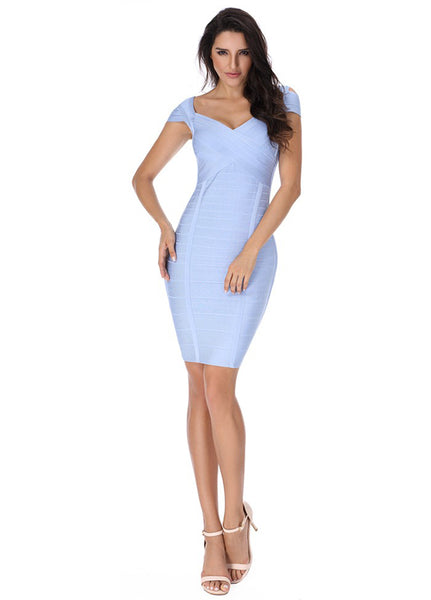 Bandage  strapless short-sleeved dress Partywear  CODE: mon762
