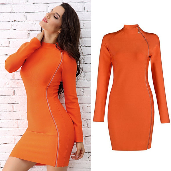 side zipper bandage dress Slim package hip Party Wear CODE: mon765