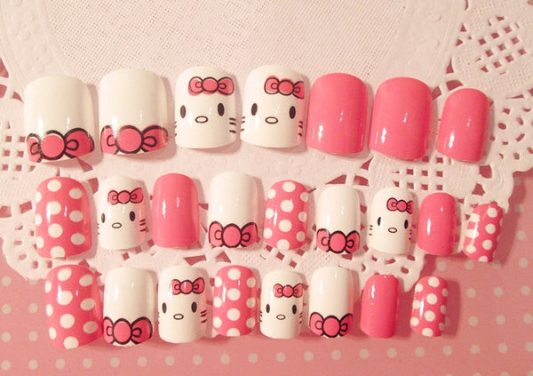 Finished Nail 24 pcs fake nails silver-plated / hello kitty nals / floral CODE: mon772 , mon773 , mon774