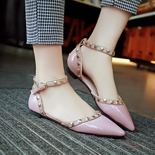 shallow mouth sexy shoes rivets pointed flats CODE: mon778
