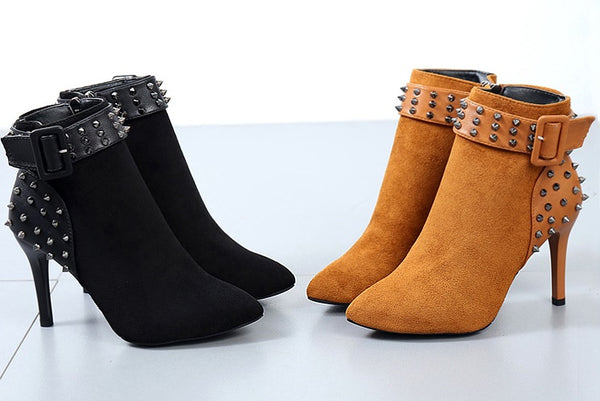 non-slip warm boots rivets high-heeled shoes CODE: mon780