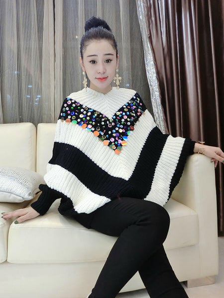 stripe sequined bat sleeve cuff head sweater CODE: mon788