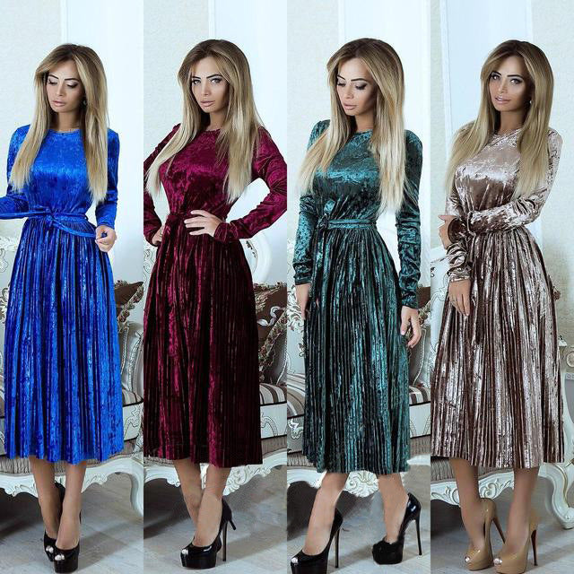 spring new pleated Velvet Casual Dress CODE: mon792