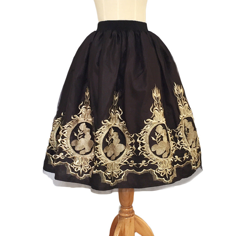 burst black embroidery gauze skirt CODE: mon796