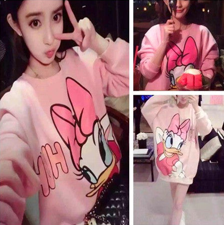 cute cartoon print long sweater dress CODE: mon799