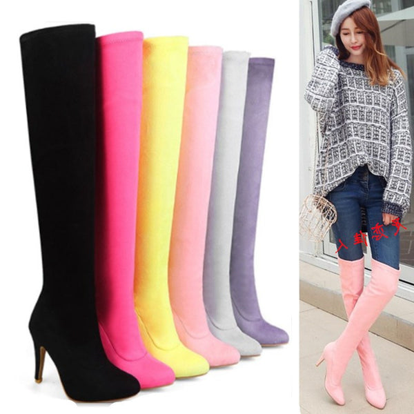 high heel boots pointed stretch boots CODE: mon805