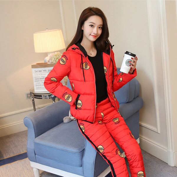casual thick hooded down printed jacket cotton two-piece Set CODE: mon818