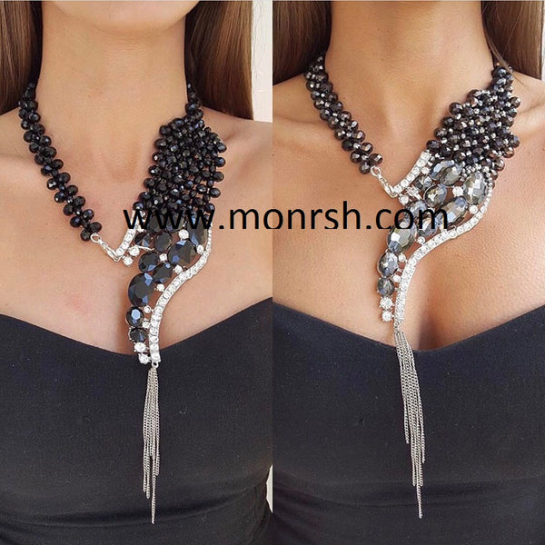 big exaggerated alloy tassel diamond necklace CODE: mon819