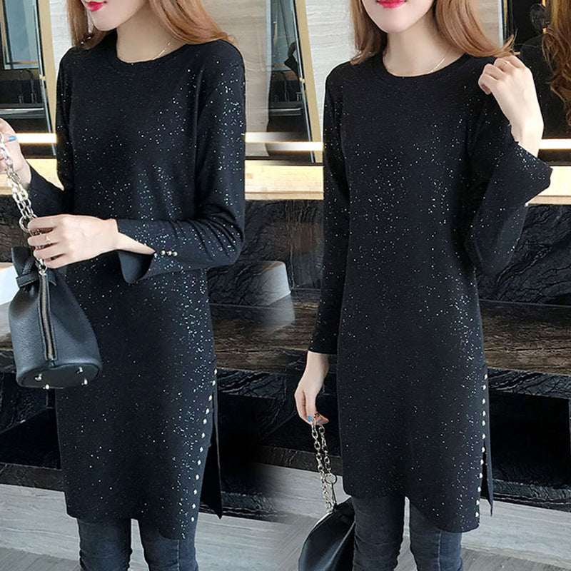 Long-sleeved dress hot silver Shine Top Plus size CODE: mon820