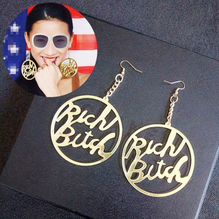 Rich Bitch acrylic earrings DJ nightclub CODE: mon821