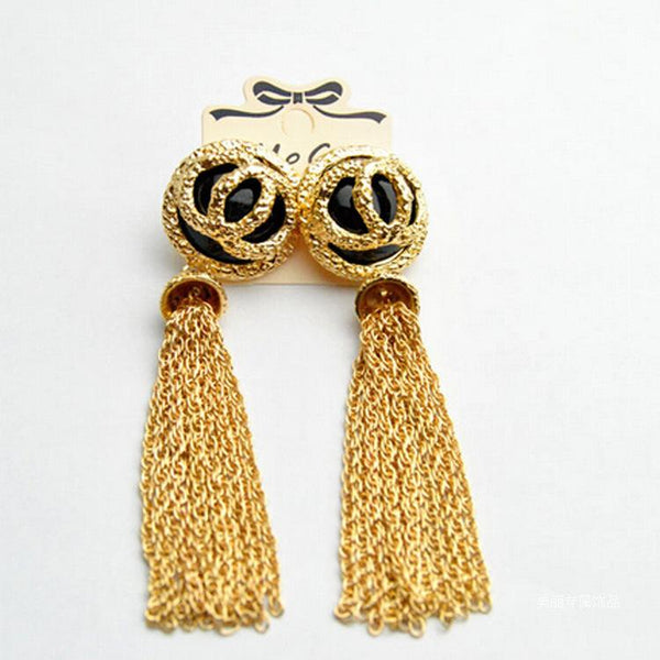 white plumeria metal flower long fringed earrings CODE: mon825 , mon826