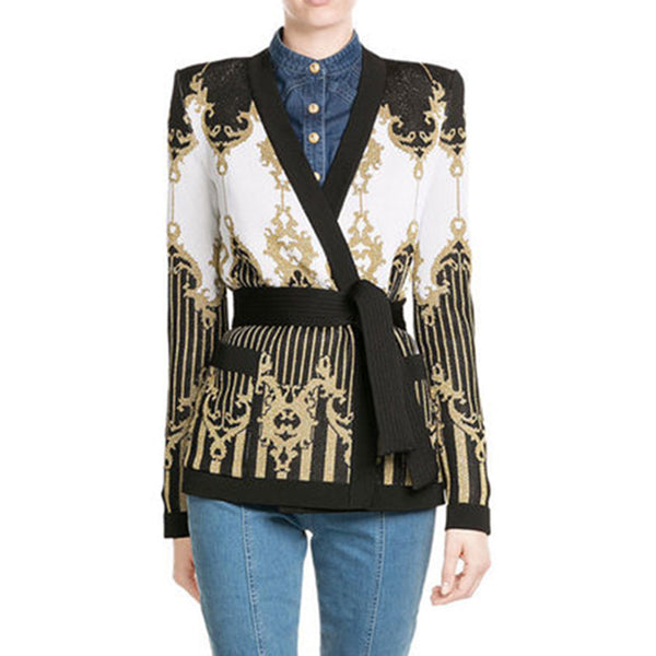thick heavy gold baroque knit sweater cardigan CODE: mon833