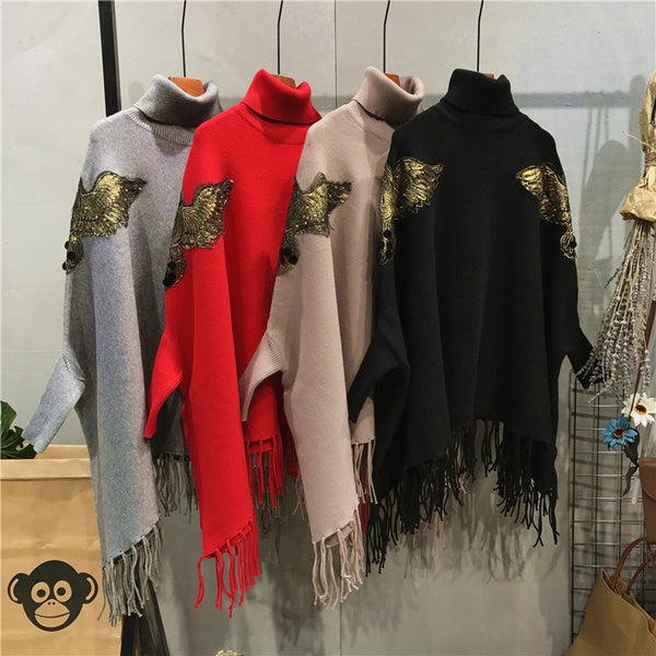 eagle tassels cape shawl sweater loose pullover CODE: mon834