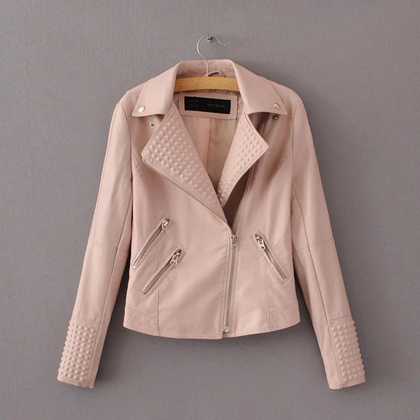 metal color  zipper leather Lapel Jacket CODE: mon835