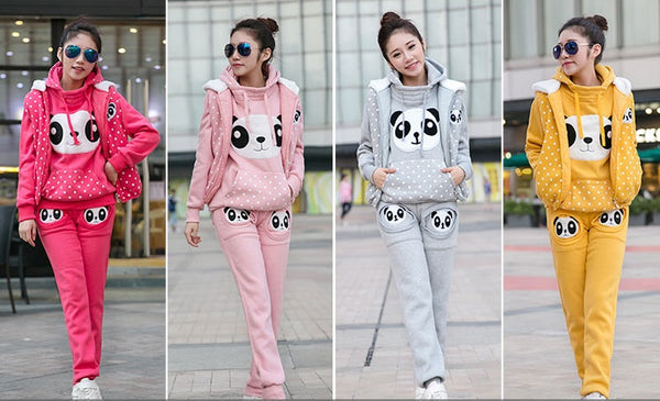 warm  casual suit cute panda three-piece set CODE: mon836