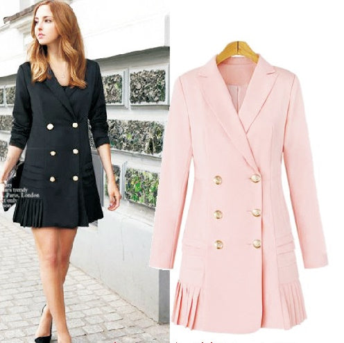 a8b3d204a135 Lapel long-sleeved double-breasted pleated hem dress CODE: mon841 ...