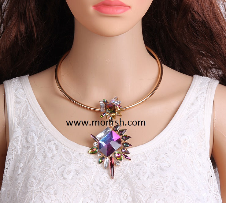 flower colored diamond collar geometric necklace CODE: mon