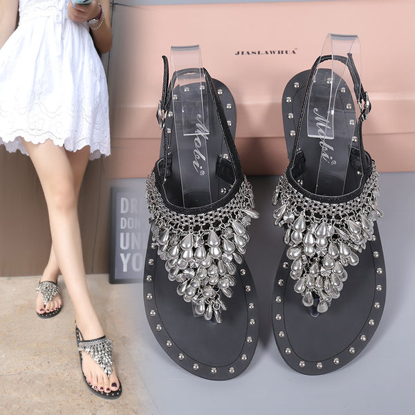 flat sandals beads clip toe CODE: mon854
