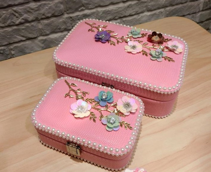 New Pearl flower jewelry box earrings necklace storage box CODE