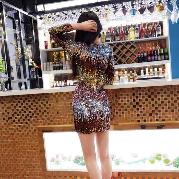 shiny sequined round neck long sleeve Party short dress CODE: mon856