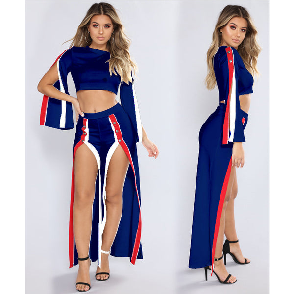 Stylish slit set two-piece suit CODE: mon861