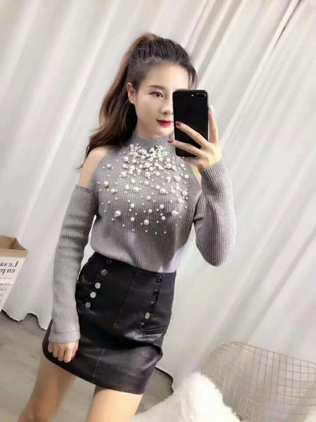 Pearl beads pullover loose cold shoulder top sweater CODE: mon875