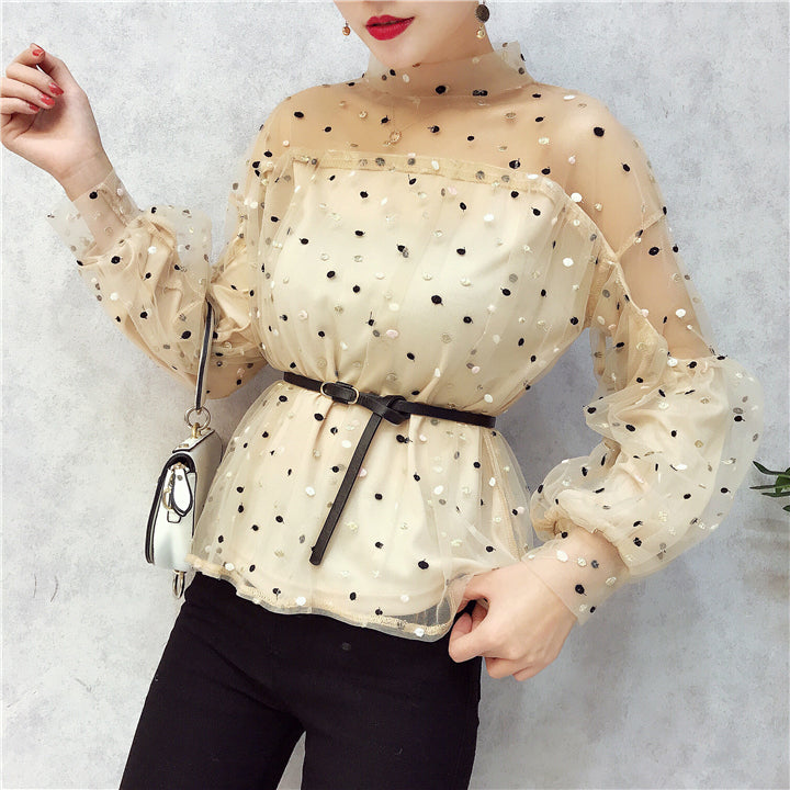 dot embroidery net yarn Top CODE: mon878