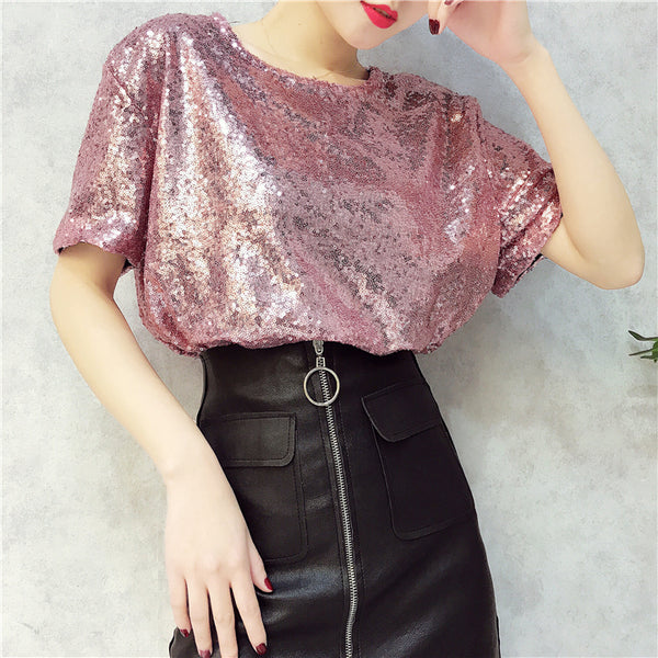 wild round neck sequin loose Top T-shirt CODE: mon880