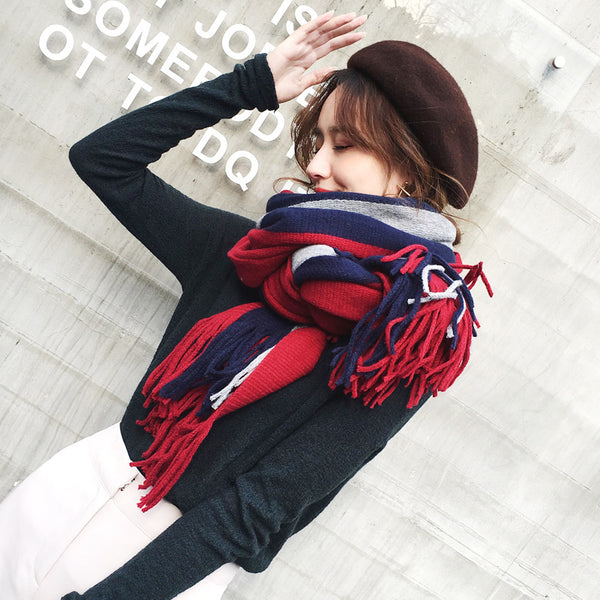 three-color striped thick wool long scarf CODE: mon891