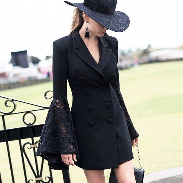 lapel speaker sleeve long section small jacket Dress CODE: mon949