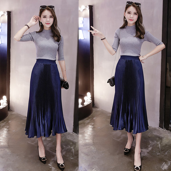 Solid Fishtail Pleated Skirt CODE: mon957