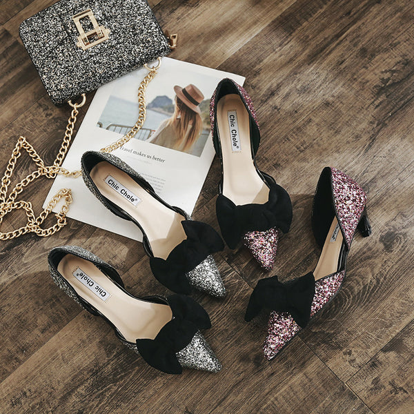 shallow mouth  pointed shoes cat heel Sequins CODE: mon995