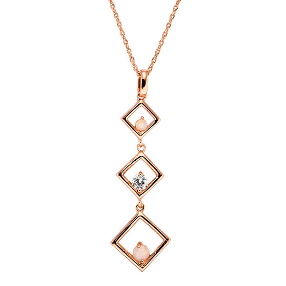 18K Rose Gold Plated Opal Necklace - 5815