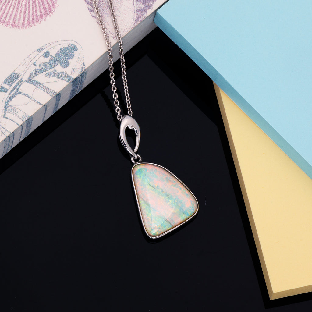 Elegant Free Style Silver Solid Opal pendant