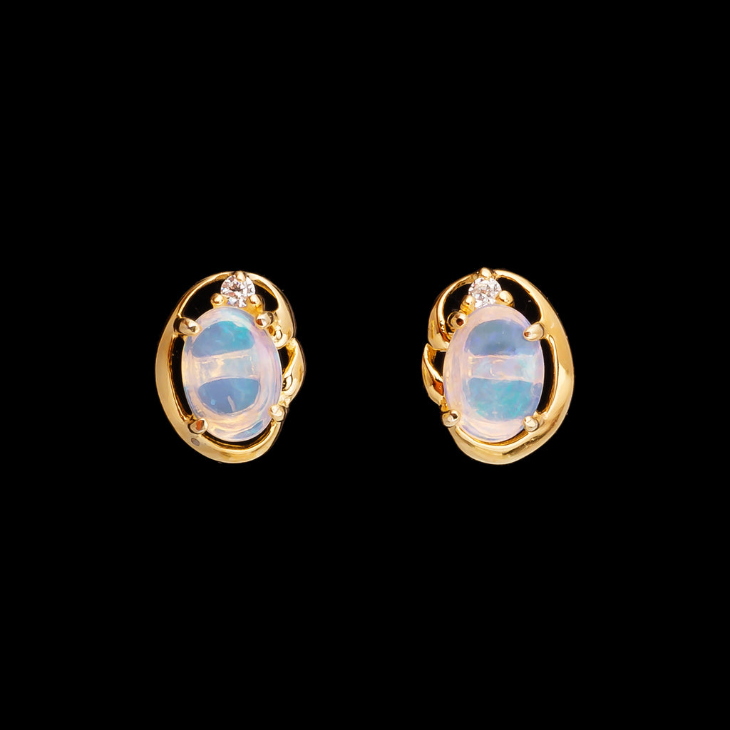 Romantic 18K Gold Plating Solid Opal Set