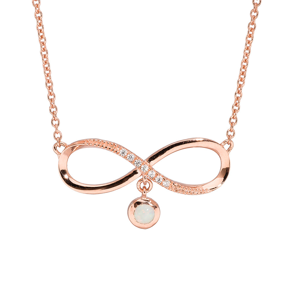 18K Rose Gold Plated Opal Necklace - 5796