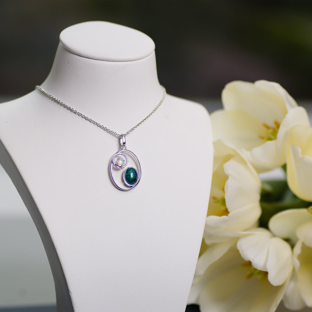18K White Gold Plated Triplet and solid opal Pendant