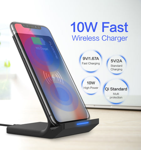 10W Qi Wireless Charger FLOVEME Desktop Stand Charging Pad Wireless Chargers For Samsung S8 Plus S9 S6 Edge For iPhone X 8 Plus - MyiCases