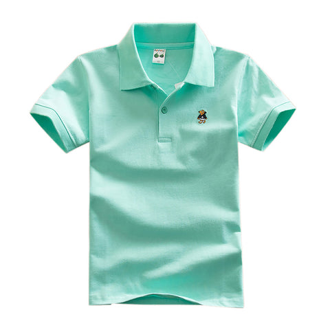 Boys Short Sleeve Polo Shirt solid color cotton - MyiCases