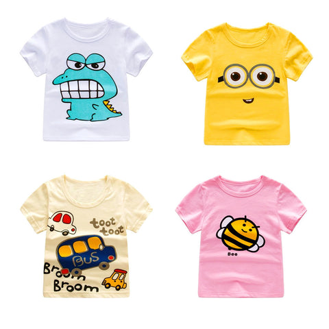 2018 Summer Girls & Boys Short Sleeve T Shirts Cartoon Print T-shirt Striped Tee Shirt Cotton Girls Tops For Kids Clothing - MyiCases