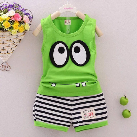 Big eyes Cartoon boys and girls cotton suit vest+shorts kids clothes - MyiCases