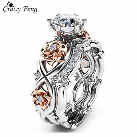 Crazy Feng 2pcs Set Crystal Wedding Rhinestone Ring - MyiCases