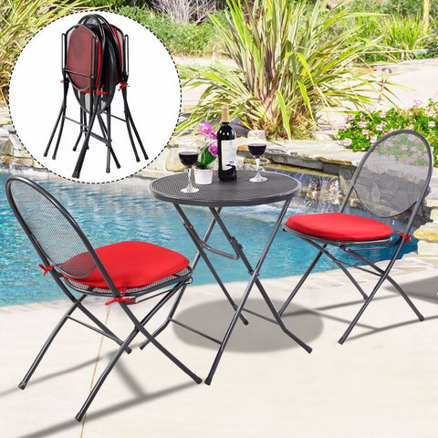 3 PCS Folding Steel Mesh Outdoor Patio Table Chair Garden Backyard Furniture Set HW51792 - MyiCases