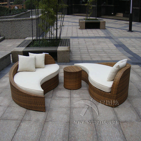 3 pcs rattan sofa set Poly Rattan Waterproof Lounge Bed Rattan Conservatory Furniture - MyiCases