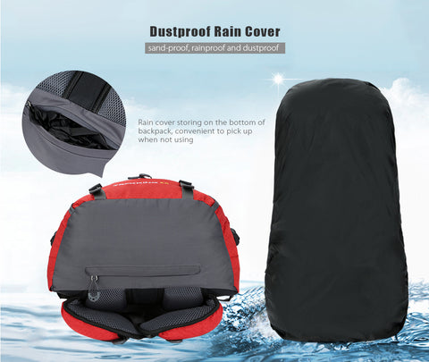 ... 60L Waterproof Climbing Hiking Backpack Rain Cover Camping Mountaineering  Backpack Sport Outdoor Bike Bag 3a16f24648