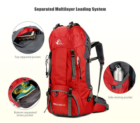 60L Waterproof Climbing Hiking Backpack Rain Cover Camping Mountaineering Backpack Sport Outdoor Bike Bag