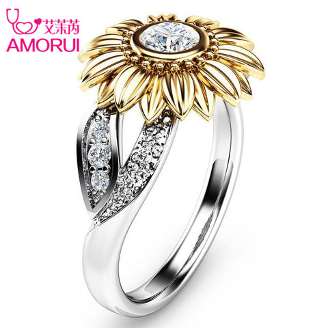 AMORUI Stone Sunflower Ring - MyiCases