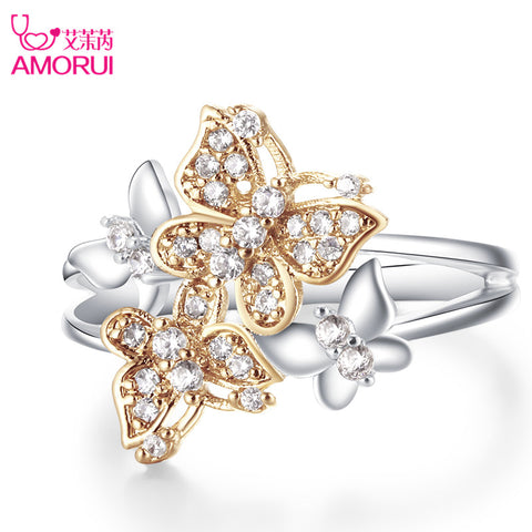 AMORUI Cute Gold Butterfly Silver Ring - MyiCases